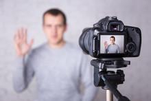 Video Blogger On Screen Of Modern Camera