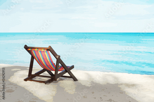 portrait of a beach chair on a white sand beach with bluesky and