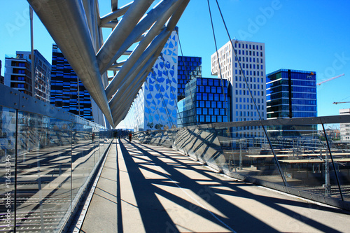 Akrobaten pedestrian bridge in Oslo, Norway Canvas Print