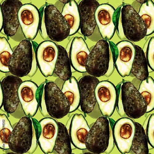 Photo sur Aluminium Illustration Aquarelle Avocados seamless pattern. Watercolor Illustration.