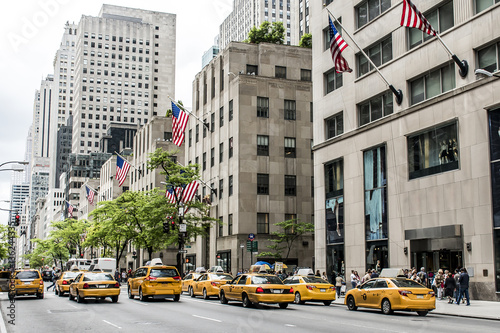 Tuinposter New York New York City Taxi Streets USA Big Apple Skyline american flag