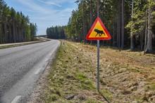 Moose Roadsign In Sweden