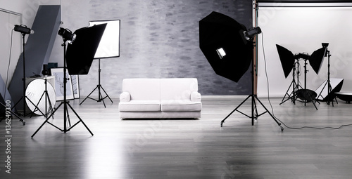 Valokuva  Photo studio with lightning equipment