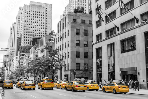 Keuken foto achterwand New York TAXI New York City Taxi Streets USA Big Apple Skyline american flag black white yellow