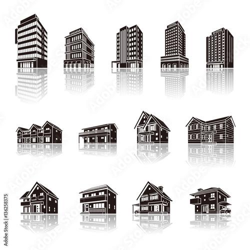 Fototapeta 建物の影のイラスト / 立体図形 obraz