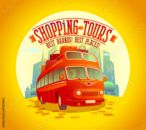 Fotomural Best shopping tours design with riding double-decker bus and many paper bags on