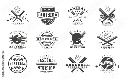 Badges set of baseball team Wallpaper Mural
