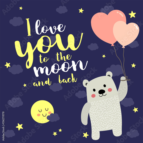 I Love You To The Moon And Back Quote With Cute Polar Bear Floating