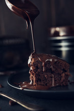 Chocolate Cake On Dark Background