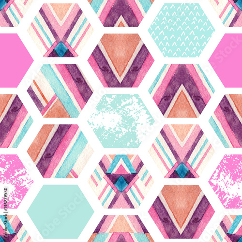 Poster Graphic Prints Watercolor hexagon seamless pattern with geometric ornamental elements