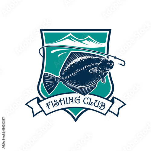 Fishing club and flounder vector icon Wallpaper Mural