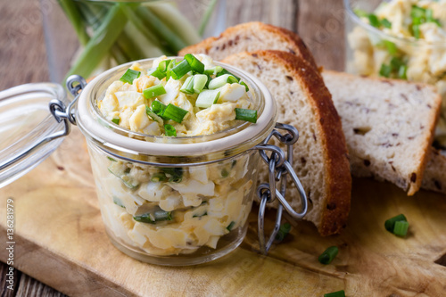 Egg dip sandwich with spring green onion