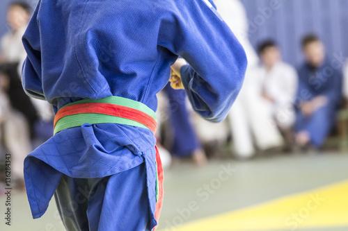 Fotografie, Obraz  Young judoka in kimono fight on tatami in  gym