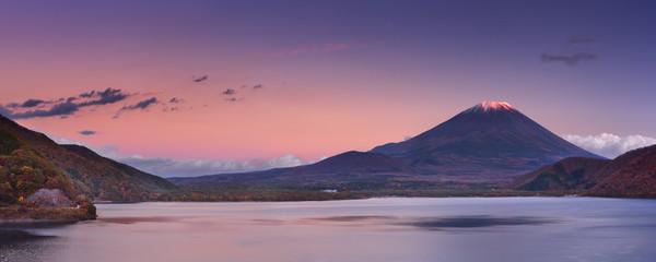 Last light on Mount Fuji and Lake Motosu, Japan