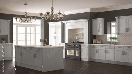 Fotografie, Obraz  Classic kitchen, scandinavian minimal interior design with woode