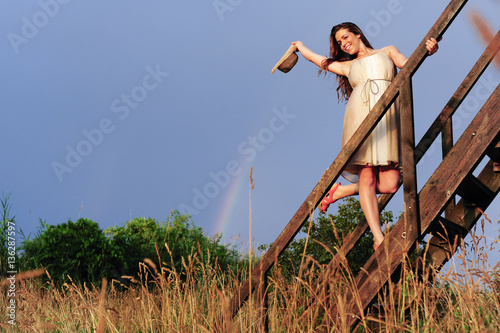 Fotobehang Fantasie Landschap Young beautiful woman (model-released)