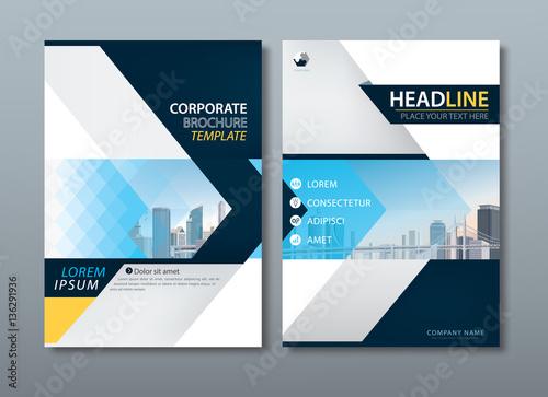 Fotografie, Obraz  Blue yellow flyer design, Leaflet cover template.