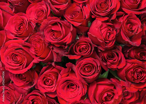 Colorful flower bouquet from red roses for use as background. Closeup. #136294306