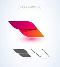 Abstract Aircraft Wing Logo Icon Set. Origami Paper And Material Design Style.