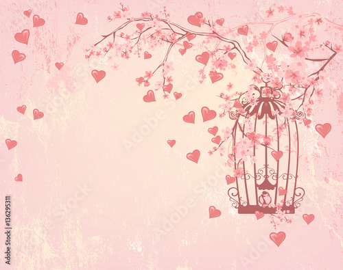 Bird cage among hearts pink flowers and tree branches valenti bird cage among hearts pink flowers and tree branches valenti mightylinksfo