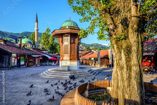 Obraz Sebilj fountain in the Old Town of Sarajevo, Bosnia - fototapety do salonu