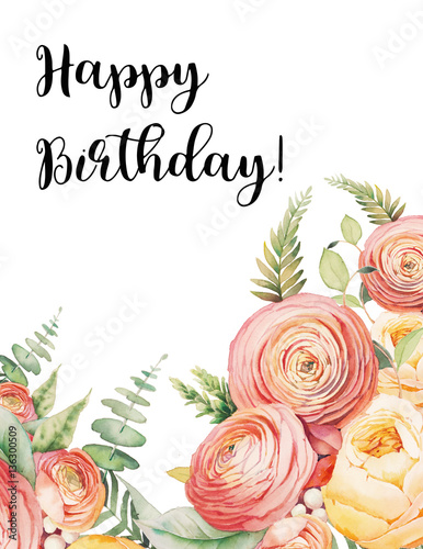 Happy Birthday Card With Watercolor Flowers Bouquet Hand Painted Botanical Frame Eucalyptus Leaves Ranunculus Rose Fern Branches Isolated
