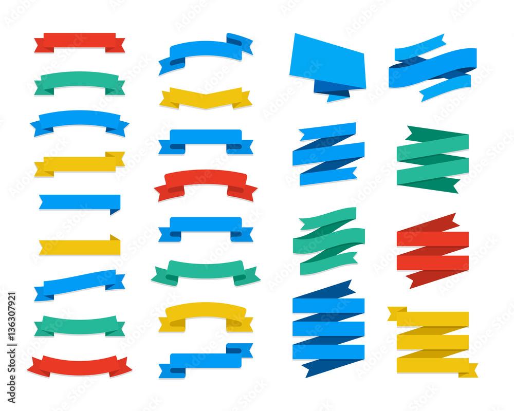 Fototapeta Set Of Vector Flat Ribbons and Banners