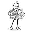 Strichmännchen Serie Emotionen - Zeitung lesen