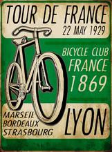 Illustration Sketch Bicycle Tour De France Poster Vintage Bike