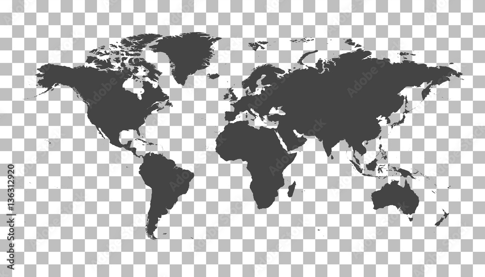 Fototapety, obrazy: Blank black world map on isolated background. World map vector template for website, infographics, design. Flat earth world map illustration