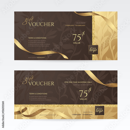 Set of luxury gift vouchers with golden ribbons and floral patterns set of luxury gift vouchers with golden ribbons and floral patterns on the deep brown background yelopaper Images