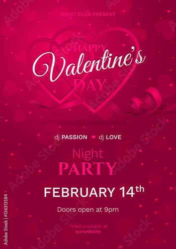 Vector Template For Poster Of Night Party For Happy Valentine S Day