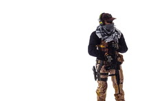Man In Military Outfit Special Forces In Modern Times On A White Background In Studio