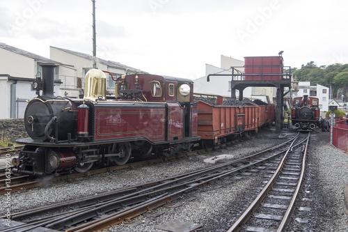 Narrow Gauge Steam Loco Taliesin, Sits with a coal train as