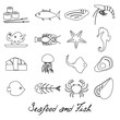 seafood and fish food set of simple outline icons eps10