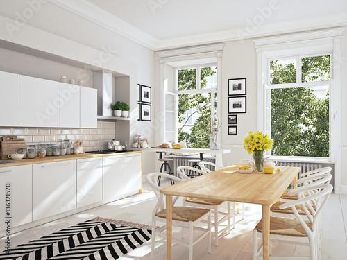 Fototapeta modern nordic kitchen in loft apartment. 3D rendering obraz