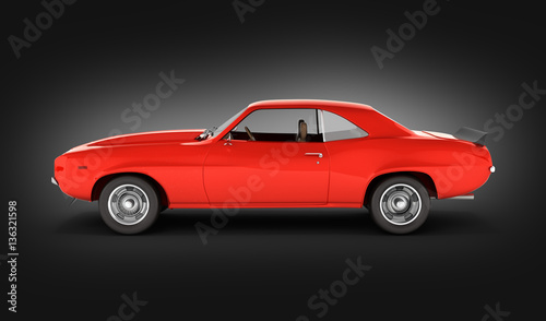 Muscle Car Side View On Black Gradient Background 3d Buy This