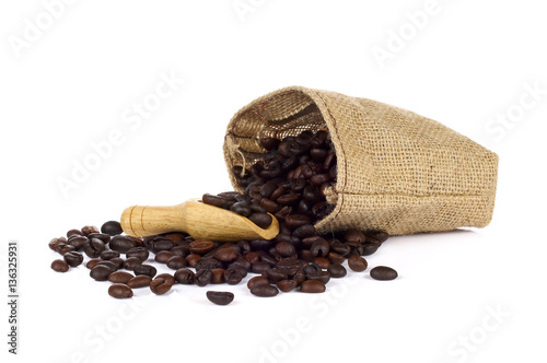 Deurstickers koffiebar Coffee beans in jute sack
