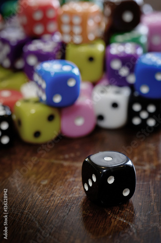Fotografija  Pile of Dice for Gaming Gambling and Playing Games of Chance