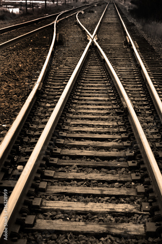 Railroad Railroad Tracks with Rails for Train