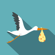 Flying Stork With A Bundle Ico...