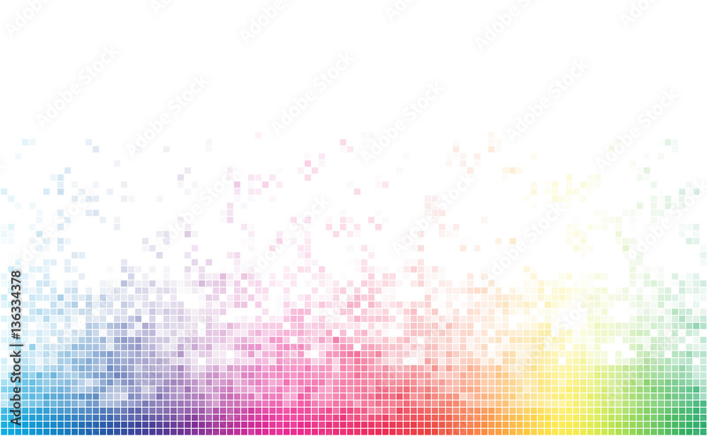 Fototapeta Abstract spectrum colorful bottom mosaic with white copy space.