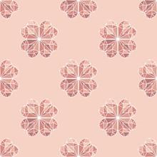Texture Continua Di Quadrifoglio, Sfondo Giometrico Porta Fortuna Di Colori Rosa Per La Decorazione Della Stanza Della Bambina