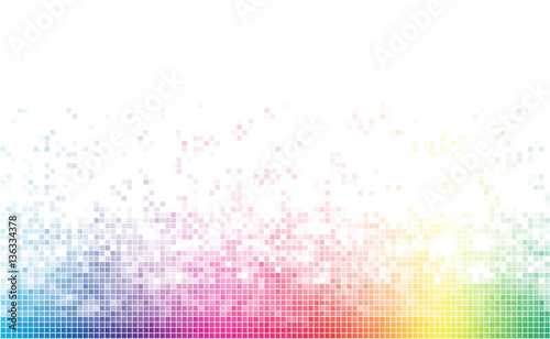 Fotografie, Tablou Abstract spectrum colorful bottom mosaic with white copy space.