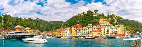 Panoramic view of picturesque harbour of Portofino fishing village on the Italian Riviera, Liguria, Italy Wallpaper Mural