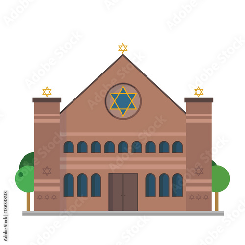 Obraz na płótnie Cute cartoon vector illustration of a Synagogue