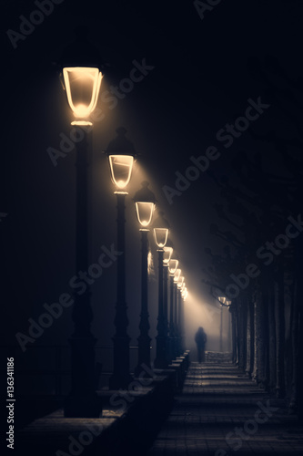 Fotografie, Obraz  person walking on dark street illuminated with streetlamps