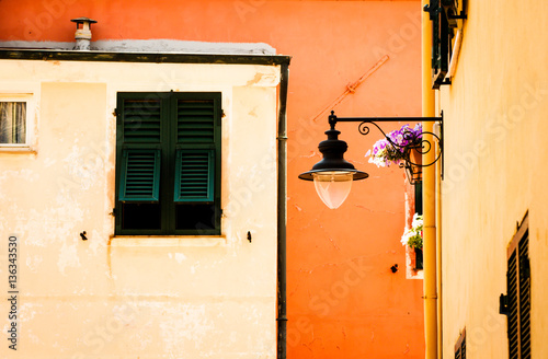 detail of small town buildings in varigotti liguria