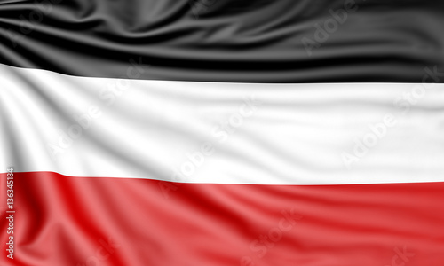 Flag of the German Empire, 3d illustration with fabric texture Fototapeta