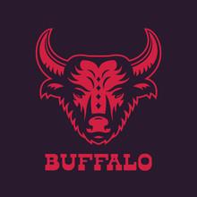Buffalo, Bull Head Logo Element, Red On Dark